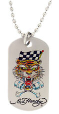 ED HARDY RACING TIGER STAINLESS STEEL DOG TAG NECKLACE