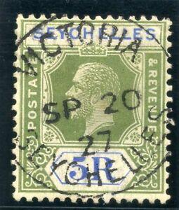 Seychelles 1921 KGV 5r yellow-green & blue VFU. SG 123. Sc 114.