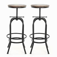 2pcs Bar Stool Industrial Metal Wood Top Adjustable Height Swivel Home Pub Chair