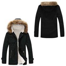 Winter Mens Fur Collar Coat Thicken Jacket Hooded Warm Parka Down Cotton Outwear