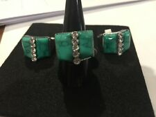 Vintage Gemstone Silver Plated Turquoise & Crystal Ring - Unique designs