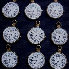 6 Pocket Watch Clock Face Charms Bronze Tone Metal