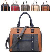 Ladies Faux Leather Panel Shoulder Bag Day Work Handbag Tote Grab Bag 8063A