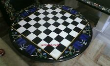 4' COFFEE CHESS TABLE TOP MARBLE INLAY ART DINING CENTER CORNER MOSAIC WORK