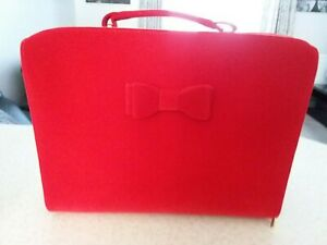 Estee Lauder Red velvet double bow zip and handle travel case make up bag