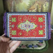 Vtg Artisan Dollhouse PETIT POINT RUG Miniature Needlepoint Carpet Embroidered