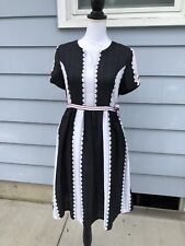 Few Moda BLACK WHITE Linen DRESS S Pockets Belted