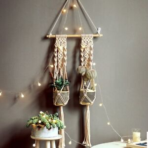 Macrame Plant Hanger Handmade Hanging Home Planter Basket Flower Pot Wall Holder