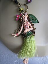 BETSEY JOHNSON HAWAIIAN LUAU LARGE HULA GIRL CRYSTAL/FLOWER NECKLACE~NWT~RARE