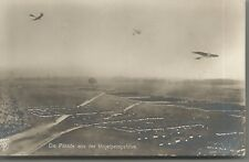 Vogelperspektive German Military Parade with Early Aircraft Real Photo PC c1910