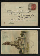Poland, Russia #41 on post card 1900 Bapwab? cancel   to  US    KL1214