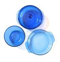 Pyrex Cobalt Blue Casserole 2 QT Liter Round Glass Baking Dish w/Lid + Pie Dish