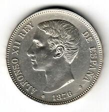 ESPAÑA 5 peseta plata 1876 DE.M. *18* *76* Alfonso XII variante Oreja Rayada S/C