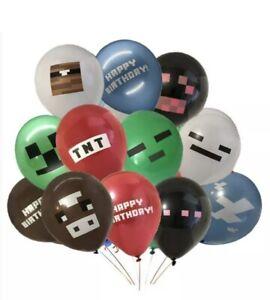 24x Minecraft Latex Balloons Party Birthday Gamer