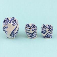 3 Blue White Owl Ceramic Handpainted Bird Figurines