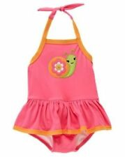 "NEW Gymboree Toddler Girls ""Growing Flowers"" Pink Snail One Piece Swimsuit 2T"