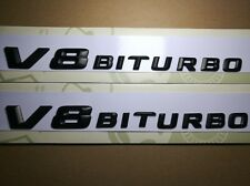 2X Side Fender Sticker Emblem Black Letter V8 Biturbo Mercedes Benz Bi Turbo