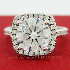 Genuine Solid 9ct White Gold Engagement Wedding Cluster Ring Simulated Diamond