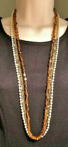 """Premier Designs Jewelry Soleil 33"""" + 4"""" Necklace Amber White Bead 5-Strand Gold"""