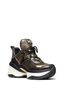 Michael Kors Women's Olympia Trainer Glitter Chain Mesh Sneaker Black/Gold