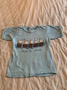 Vtg 80s Poly Tees Single Stitch 1985 Puffy Paint Seagulls T-Shirt Florida Kids S