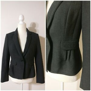Loft 1 Button Blazer Jacket 2P Charcoal Grey Tailored Structured Pleated Ruffle