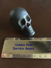 Skull Solid Cast Iron Paperweight Patina Finish Gothic Vintage Style Dungeon Ex