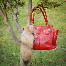 Natural Wolf Tail Genuine Wolf  Fur Keychain Fur Tassel Bag Tag Leather KeyRing