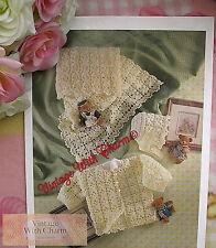 "Vintage Crochet Pattern Baby's ""Antique"" Shawl, Jacket & Bonnet. Fit 18in. Chest"