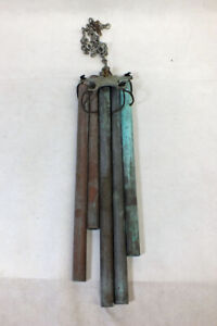 "Vintage Walter Lamp Copper Wind Chime Modern Design 14"" Great Patina"