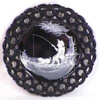 Westmoreland Mary Gregory Plate Black Milk Glass Boy Fishing Decorative Vintage