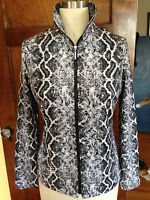 Laura Ashley Small Animal Print Zip Front Stretch Jacket