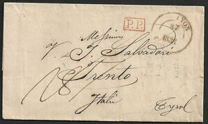 France 1836 folded letter Lyon to Trento PP in Box
