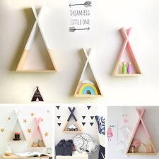 Triangle Wooden Wall Mounted Shelf Display Hanging Rack Storage Kids Room Decor