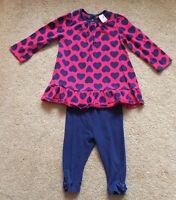 Mini Club Boots Heart Top & TU Leggings Pink & Navy Blue 6-9 Months Cute VGC !