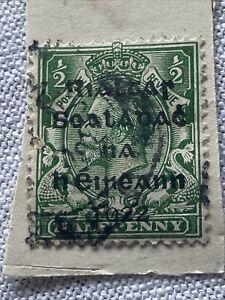 1922 Irish Stamp - Rialtas Sealadach na hÉireann - Overprinted Halfpenny Stamp