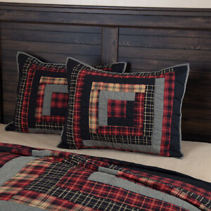 VHC Brands Rustic Standard Sham Red Patchwork Cumberland Chambray Bedroom Decor