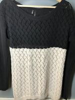 maurices size L 2 tone  sweater black and winter white color blocked