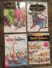Lot Of 4 New Animal, Music & Fantasy Adult Coloring Books BN Grown Up, Relax