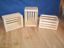 10 small unfinished pine crates, wooden crate, wood crate