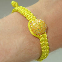 Yellow Shamballa Crystal Ball Charm Bracelet Wristband Bangle Women's Girls Kids