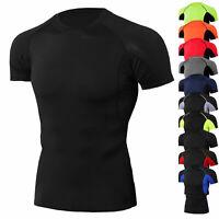 Men's Compression Shirt Workout Sport Top Short Sleeve Cool Dry Plain Breathable