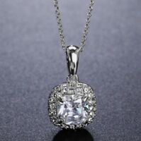 18K White Gold Cubic Zirconia CZ Pave Square Pendant Chain Necklace Jewellery UK