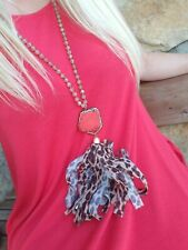 NEW BEADED FROST CRYSTAL LEOPARD TASSEL NECKLACE W/RED TURQUOISE STONE