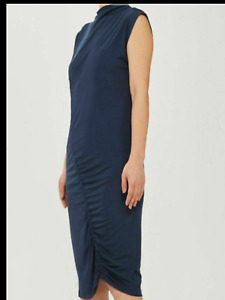 BNWT BOUTIQUE @ Topshop Blue Ruched Midi Summer Dress Size UK  10