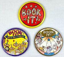 3 Vintage Pizza Hut Book It! Reading Program Pinback Button Pin 1992 1994 1996