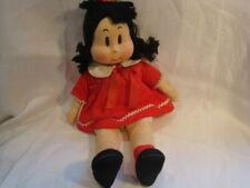 "Vintage Georgene ""Little Lulu"" Cloth Doll in Red Dress - 14"" Inch"