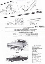 1969 MERCURY MONTEREY MARQUIS MARAUDER 69 PARTS LIST FRAME CRASH SHEET MRE