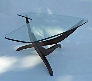 Vintage 60s MCM Forest Wilson Sculptural Wood & Boomerang Glass Coffee Table