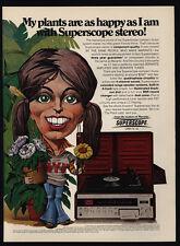 1974 SUPERSCOPE MARANTZ Stereo - Cartoon Girl Art - NYU - Plant - VINTAGE AD